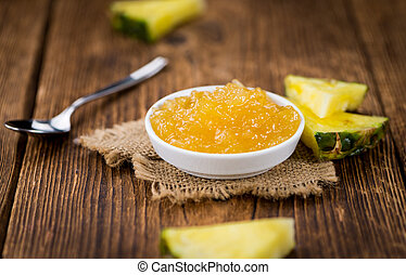 Pineapple Jam on vintage wooden background - Pineapple Jam...