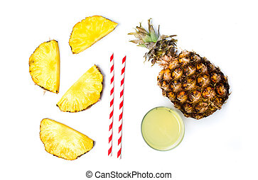 Pineapple juice and fresh fruit isolated