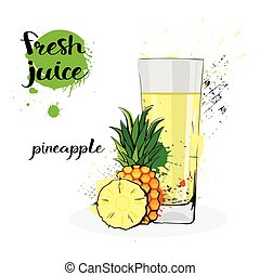 Pineapple Juice Fresh Hand Drawn Watercolor Fruits And Glass On White Background