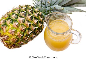 Pineapple juice of pot on a white background seen from above