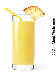 Pineapple juice - Glass of pineapple juice isolated on white