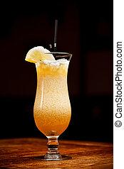 Pineapple juice - Glass of pineapple juice on bar table