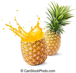 pineapple juice splashing out from its fruit