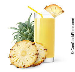 Pineapple juice and slices of pineapple isolated on white