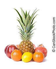 Pineapple, lemon, orange, apple and pomegranate