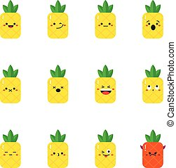 Pineapple modern flat emoticon set