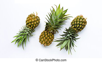 Pineapple on white background. Top view