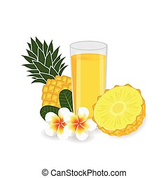 pineapple on white background. Vector illustration.