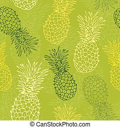 Pineapple pattern - Vector background with pineapple on a ...