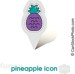 Pineapple pin map icon. Pineapple fruit sign
