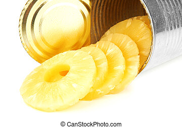 Pineapple - Portion of canned sliced pineapple isolated on...