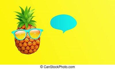 pineapple., salutation, animation, été, hipster
