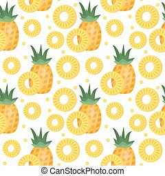 Pineapple seamless pattern. Ananas slices endless background, texture. Fruits . Vector illustration