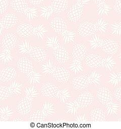Pineapple seamless pattern on pink background, vector illustration