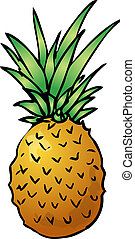 Pineapple - Sketch of a pineapple. Hand-drawn lineart look...