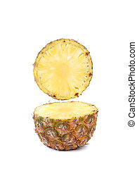 Pineapple slice isolated on a white background.