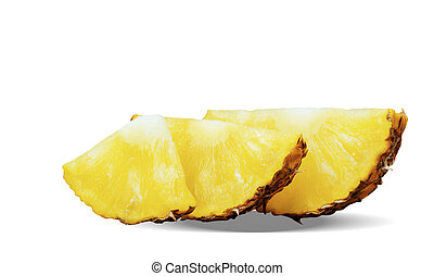 Pineapple slices on white background.