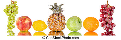 pineapple - still life of group multi-coloured fruits , on...