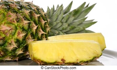 pineapple rotating over white background