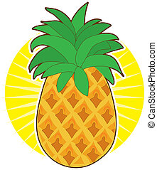 Pineapple Sun - A glorious pineapple with a green top, sits...