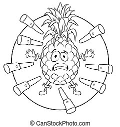 Pineapple target coloring book vector illustration