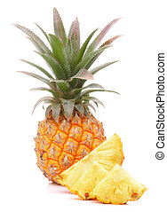 Pineapple tropical fruit or ananas isolated on white ...