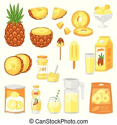 Pineapple vector fresh healthy pine-apple yellow natural...