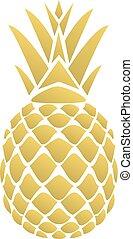 Pineapple - vector golden pineapple