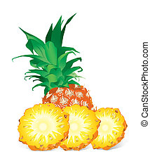 Pineapple (vector) - Pineapple With Slices (vector)