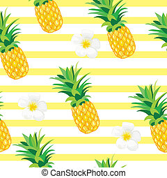 Pineapple with Exotic Flowers Seamless Pattern. Tropical Summer Illustration for wallpaper, background, wrapper or textile