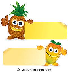 Pineapple with Mango. Vector Cartoon Illustration