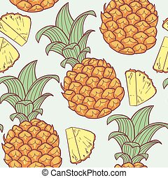 Pineapple with slice seamless pattern in vector