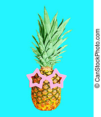 Pineapple with sunglasses on blue background, colorful ...