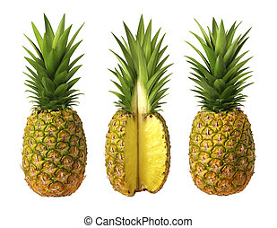 Pineapples - A photo of 3 pineapples isolated on a white...