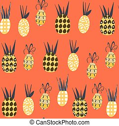 Pineapples  fantasy seamless pattern. It is located in swatch menu, vector image. Cute tile background for design. Abstract tropical floral   backdrop.