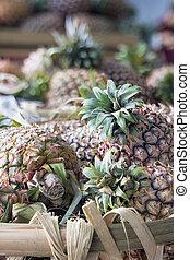 Pineapples in Basket Closeup