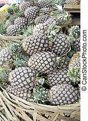 Pineapples Piled in Basket Closeup