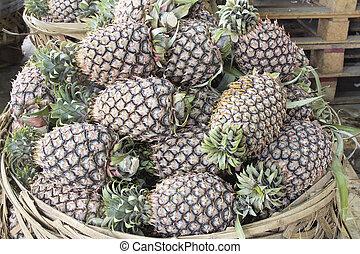 Pineapples Piled in Basket