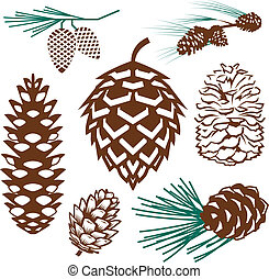 Clip art collection of various styles of pinecone