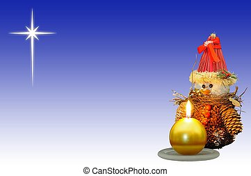Pinecone snowman with candle & star