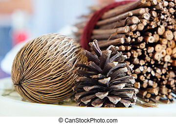 Pinecones and dried Plants