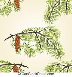 pinecones, pin, vecteur, texture, seamless, branche