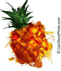 pineple, fatto, di, colorito, schizzi, bianco, fondo