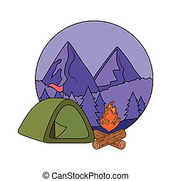 pines trees forest scene with campfire and tent