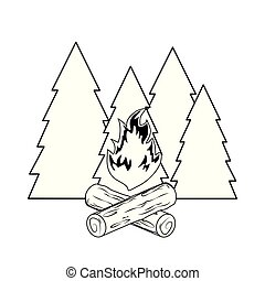 pines trees forest scene with campfire