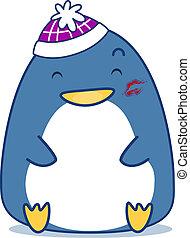 pingüim, beijo, marca