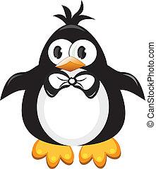 pingüim, caricatura, bird., boy.