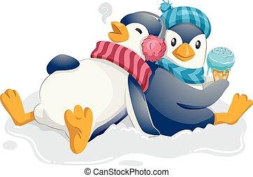 pingüim, cheio, sorvete