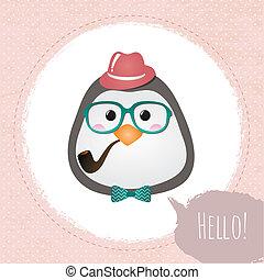 pingüim, hipster, quadro, textured, desenho, ilustração