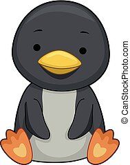 pingüim, ilustração, sentar